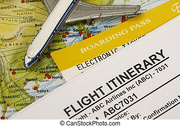 Boarding pass - Flight Itinerary with boarding pass and...