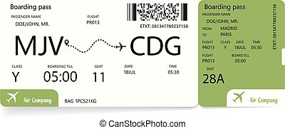 Boarding pass. Green airplane ticket.