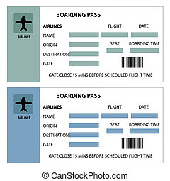 Boarding Pass - Illustration of two boarding passes on white...