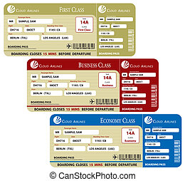 Boarding Pass Set - A set of three boarding passes