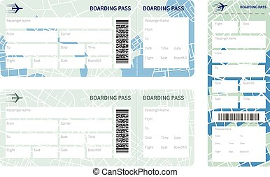 Boarding pass - Set of airline boarding pass tickets on...