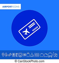 Boarding pass thin icon illustration Part of travel icons set. Vector