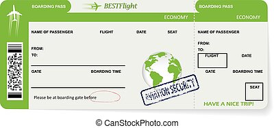 Boarding pass ticket for traveling by plane