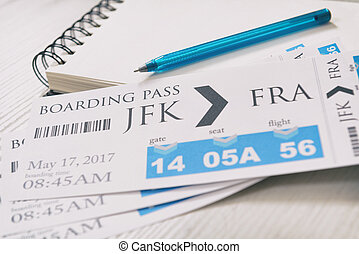 Boarding pass tickets - Airline boarding pass tickets with...