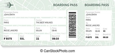 Boarding pass - Airline boarding pass ticket with a map as a...