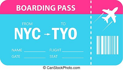 Boarding pass vector icon on white background