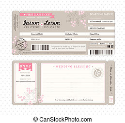 Boarding Pass Wedding Invitation Template - Boarding Pass...