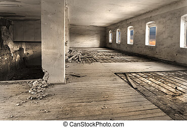 Boarding - Old abandoned soviet barrack, details of the...
