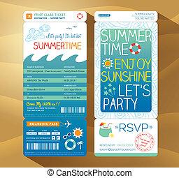 boarding, sommer, summertime tid, baggrund, passerseddel, gilde, ferie, card, skabelon