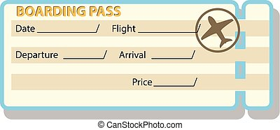 illustration of airplane ticket with shadow islated on white background