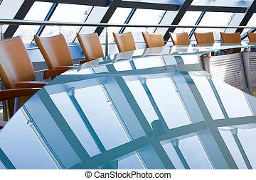 Creative image of empty boardroom meeting area