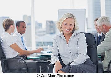 boardroom, donna d'affari, proposta, attraente
