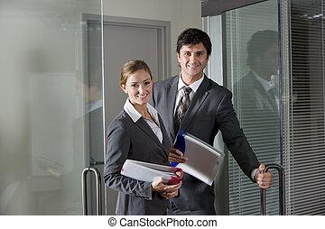 boardroom, lavorante, porta, ufficio, apertura