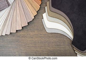 boards., stoff, raum, hölzern, lamellieren boden, gewerblich, probe, farbe, building.small, proben, daheim, kopie, oder, möbel