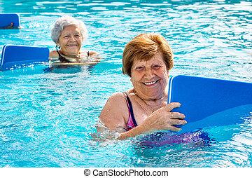 boards., víz, megrúg, idősebb ember, gyakorlás, nők