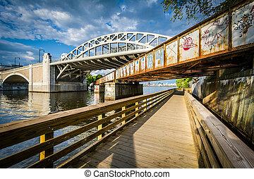 Boardwalk and bridges over the Charles River, at Boston University, in Boston, Massachusetts.