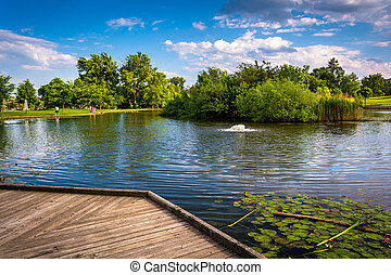Boardwalk and pond at Patterson Park in Baltimore, Maryland.