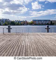 boardwalk at the havel in background buildings