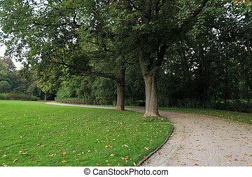 Boardwalk in autumn park in October in Europe