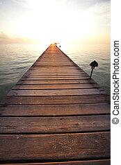 boardwalk, ligado, praia