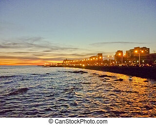 Boardwalk of Montevideo Night View