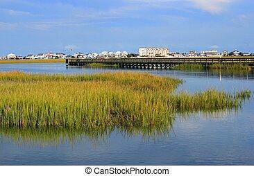 Boardwalk through the marsh in Murrells Inlet near Myrtle Beach, SC