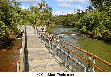 Boardwalk over the Iguazu Falls of Argentinian side, UNESCO World Heritage in Puerto Iguazu, Argentina