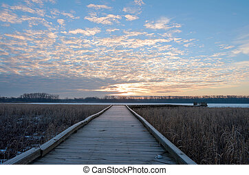 Boardwalk Sunrise in Wildlife Refuge