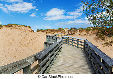 Boardwalk through the dunes at Sleeping Bear Dunes National...
