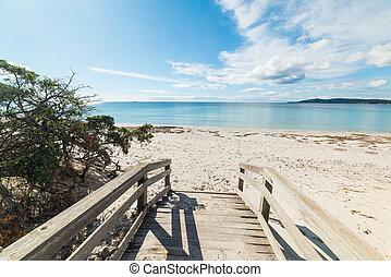 Boardwalk to the beach in Alghero