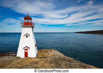 Bay of Fundy coastline and Boar's Head Lighthouse near Tiverton on Long Island, Nova Scotia, NS, Canada