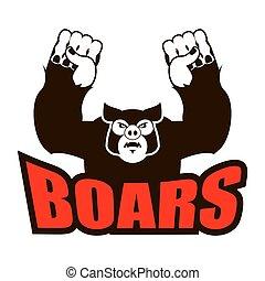 boars logo for sports team. Angry pig. Aggressive wild boar. grumpy farm animal.
