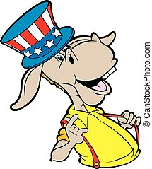 vector cartoon art of the democratic donkey who appears to be boasting about the upcoming election
