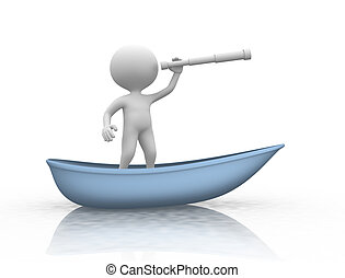 Boat - 3d people - men, perosn with boat and a binocular.