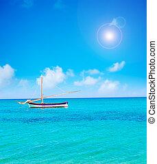 boat alone in the sea