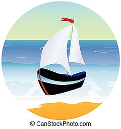 boat and beach cartoon vector illustration