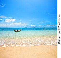 boat and beautiful blue ocean