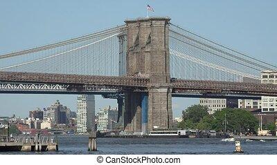 Boat And Brooklyn Bridge
