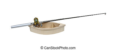 Wooden boat with a fishing pole ready to enjoy the sport of fishing - path included