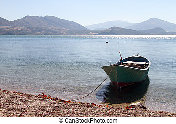Boat in the water of lake Egirdir, Turkey