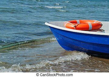 Boat and lifebuoy ring