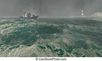 Boat and lighthouse in the storm - Realistic three...