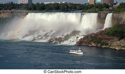 Boat and Niagara Falls. Canada
