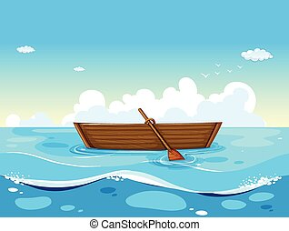 Boat and ocean - illustration of a boat floating on the sea