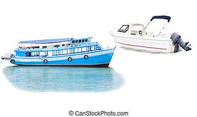 boat and ship floating over sea water isolated white background