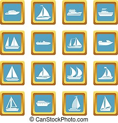 Boat and ship icons azure