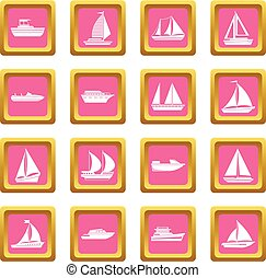 Boat and ship icons pink