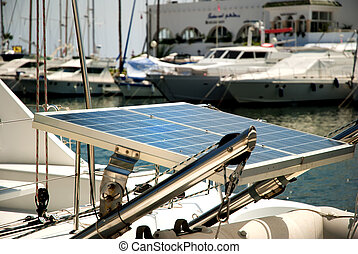 Boat and solar panel - Modern boat with solar panel