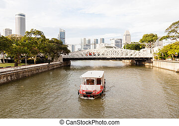 Boat Approaching Anderson Bridge on Singapore River