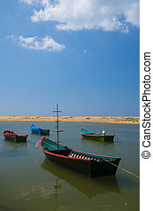 Boat at beach and blue sky